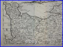 NORMANDY FRANCE 1740 by ALBRIZZI LARGE ANTIQUE ENGRAVED MAP ITALIAN EDITION