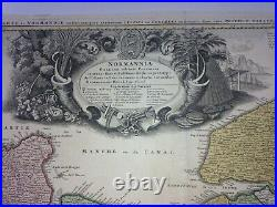 NORMANDY FRANCE 1745 Guillaume DELISLE LARGE ANTIQUE ENGRAVED MAP 18TH CENTURY