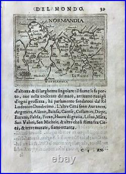 NORMANNIA, (Normandy), Ortelius' map, Italian edition pocket atlas, 1667ca