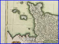 Normandy Perche Maine France 1771 Bonne / Lattre Large Antique Map Old Colors