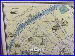 Nouveau Paris map Monumental landmarks city scape colored print frame 30 x 23