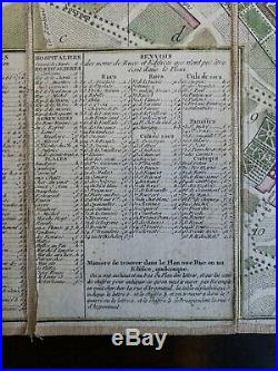 ORIGINAL Rare Plan Routier de la Ville et Faubourg de Paris 1778 Map Antique