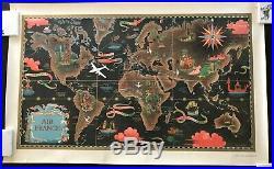 ORIGINAL Vintage Map AIR FRANCE Lucien Boucher Perceval Réseau Aérien Mondial