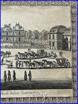 ORIGINAL- Vue et perspective du Château de Versailles, de dedans ENGRAVING c1664