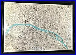ORIGINAL vintage MAP OF PARIS BLONDEL LA ROUGERY DE PARIS A VOL D'OISEAU 1959