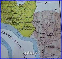 Old Map of Great Wines of France Bordeaux Côtes de Bourg Bourgeais Lansac Bayon