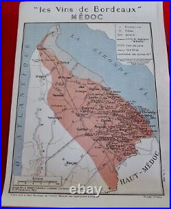 Old Map of Great Wines of France Bordeaux Médoc Valyrac Loirac Blaigna St Yzans