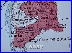 Old Map of Great Wines of France The Premières Côtes de Bordeaux