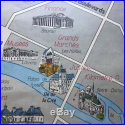 Old Vtg 1960 PARIS SCHOOL MAP Monuments & Economy Cars Jewel Hte Couture Airport