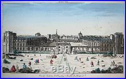 Old coloured Copperplate Box blade Castle Vincennes France ca. 1780