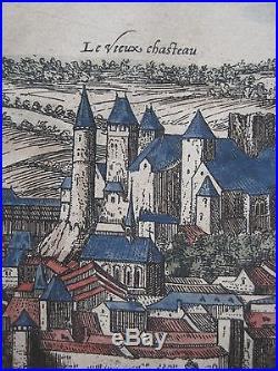 Original 1595 Braun & Hogenberg CHTEAU DE BLMONT Birds-Eye-View Map France