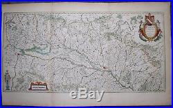 Original 1649 Map of the Rhine River through Alsace France by Blaeu