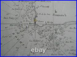 Original 1824 Beautemps-Beaupré Nautical Map BRITTANY France Finistère Morbihan