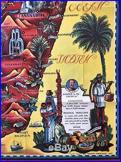 Original 1952 Vintage Illustrated Map Poster MADAGASCAR Colony FRANCE Tranchant