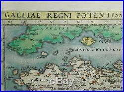Original Antique 16th C Map Galliae Regni Potentiss 1570 Ortelius France