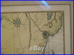 Original Antique Framed Brasilia / Brazil Map Engraved In France
