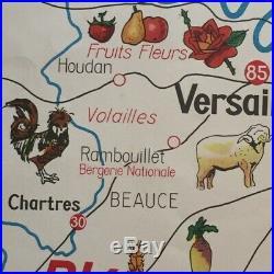 Original FRENCH Antique Vintage SCHOOL MAP Mid Century Two Sides PARIS NORMANDIE