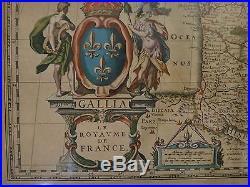 Original Old World map Kingdom of France, Mid- 17th c. W. & J. Blaeu, 23 x 19