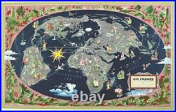 Original Vintage Air France Planisphere Poster Map 1959 by Lucien Boucher