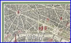 Original Vintage Map Poster VIEW OF THE CENTER OF PARIS France Travel Tourism OL
