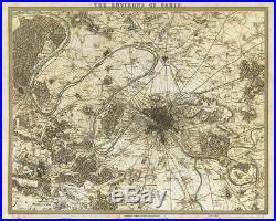 Original Vintage Map of PARIS, France THE ENVIRONS OF PARIS Pub. 1832