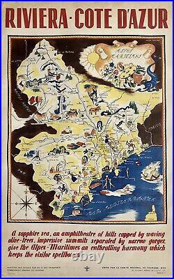 Original Vintage Poster RIVIERA COTE D'AZUR French Travel Tourism France Map OL