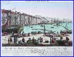 Original altkol. Box blade Toulon France Old Port Navy 1780