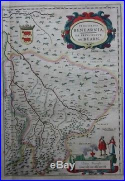 Original antique map, FRANCE, AQUITAINE, BAYONNE, BORDEAUX, DAX, Blaeu, c. 1648