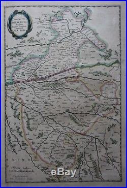 Original antique map, FRANCE, BLESOIS, PERCHE, BLOIS, ORLEANS, Blaeu, c. 1648