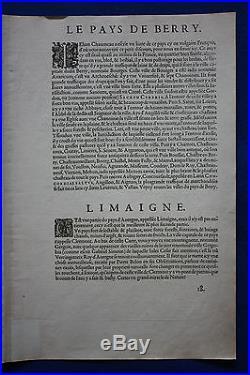 Original antique map FRANCE, LOIRE, BOURGES, NEVERS, CLERMONT, Ortelius, c. 1581