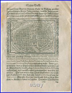 Original antique map plan of Paris by Abraham Saur from 1658