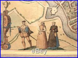 Original hand colored Antique 1572 map Lille France