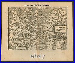 Original old antique woodcut map of Europe by Johannes Stumpf from 1548