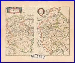 Orleans Vendome France Antique Map Blaeu 1660 Original French Decor Gift Idea