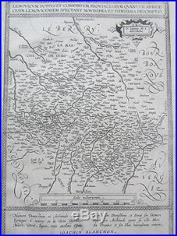 Ortelius Original Engraved Map France Blois Limoges 1590