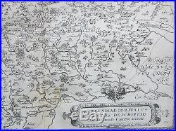 Ortelius Original Engraved Map France Burgundiae Dole Besancon Auxonne 1590