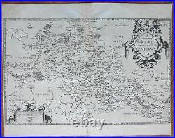Ortelius Original Engraved Map France Picardie Amiens Corbie Peronne 1590