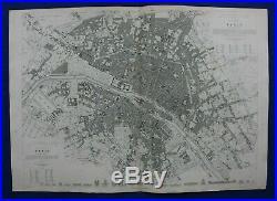 PARIS CITY PLAN, FRANCE, large original antique map, SDUK, 1844