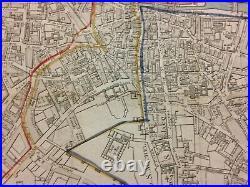 PARIS FRANCE 1798 by JOURNEAUX RARE LARGE ANTIQUE ENGRAVED CITY MAP 18TH CENTURY