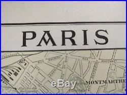 PARIS FRANCE Map 1900 11.5x14.5 Antique Original Old Vintage SEINE FR MAPZ