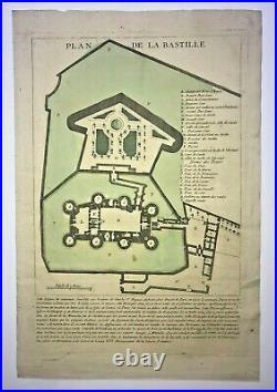 PARIS LA BASTILLE c. 1792 FRENCH REVOLUTION RARE ANTIQUE PLAN 18TH CENTURY