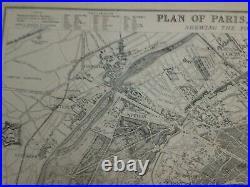PARIS & SURROUNDS 1863 by B. R. DAVIES VERY LARGE ANTIQUE CITY MAP 19TH CENTURY