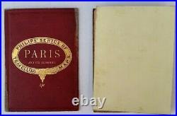 PHILIPS SERIES TRAVELLING FOLDOUT LINEN MAP c. 1880s NEW PLAN PARIS ITS SUBURBS