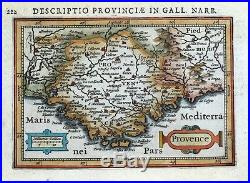 PROVENCE, SOUTH OF FRANCE, MONACO, BERTIUS original antique miniature map 1618