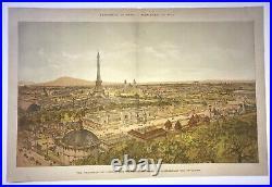 Paris Eiffel Tower France Exposition Universelle 1900 Large Antique View
