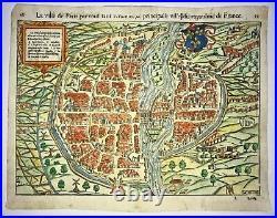 Paris France 1568 Sebastian Munster Large Unusual Antique Map 16th Century