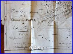 Paris France city urban plan old map 1825 Sidney Hall Picquet Leigh fine