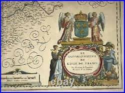 Paris & Region France 1635 Willem Blaeu Unusual Large Antique Map 17th Century