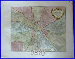 Paris city plan France 1756 Isaac Tirion & Grieve beautiful rare antique map