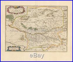 Perigueuz Libourne Bergarac France Vintage Map Jansson 1650 Original
